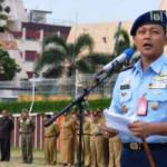 Komandan Lanud Astra Ksetra Letkol Nav Arief Budiman pimpin upacara bulanan di Lingkungan Pemprov Lampung