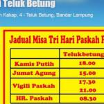 Jadwal Misa Kamis Putih di Paroki Maria Ratu Damai Teluk Betung Bandar Lampung