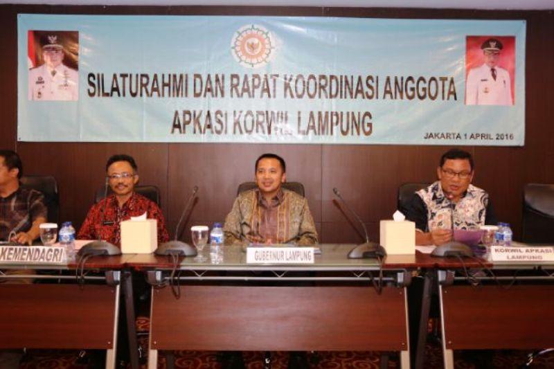Gubernur Lampung M Ridho Ficardo pada Rakor Asosiasi Pemerintah Kabupaten Seluruh Indonesia (APKASI) Korwil Lampung, Jumat 01 April 2016 di Kantor DPP APKASI Gedung Sahid Centre, Jakarta.