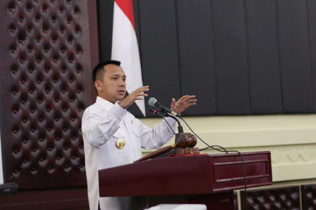 Gubernur Lampung M Ridho Ficardo dalam Rapat Koordinasi Pelaksanaan Urusan Pemerintahan Umum dan Penanganan Konflik Sosial di Gedung Pusiban Kantor Gubernur, Rabu 06 April 2016.