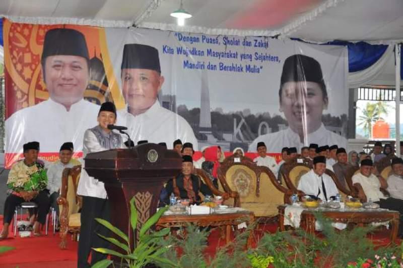 Gubernur Lampung M. Ridho Ficardo saat memberikan sambutan pada kunjungannya ke Lampung Selatan Rabu 15  Juni 2016.