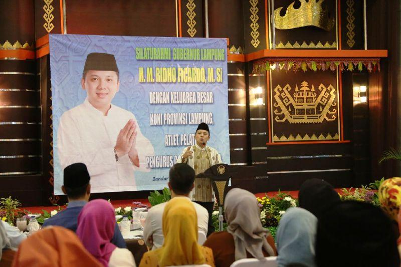 Gubernur Lampung M Ridho Ficardo saat memberikan sambutan pada silaturahmi bersama Keluarga Besar KONI Provinsi Lampung, di Mahan Agung Minggu 03 Juli 2016.