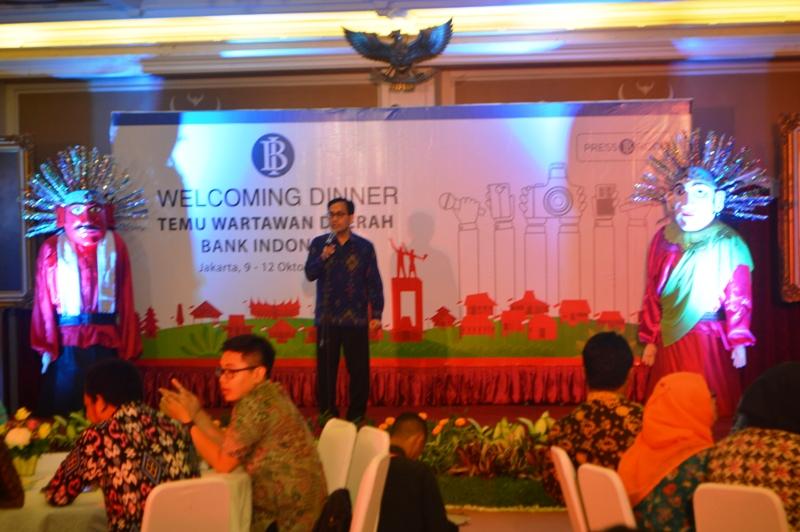 Direktur Departemen Komunikasi Bank Indonesia (BI) Arbonas Hutabarat pada acara welcoming dinner di Museum Bank Indonesia di Jalan Pintu Besar Utara No. 3, Jakarta Barat semalam, Minggu 09 Oktober 2016.
