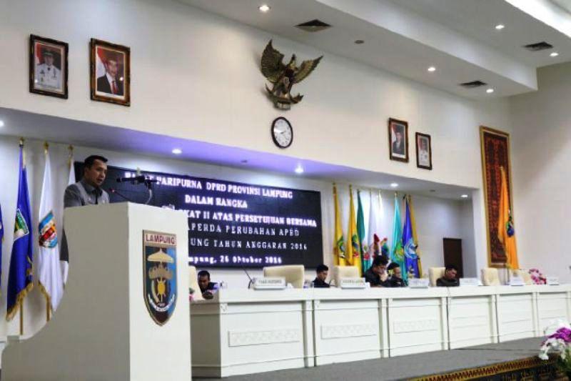 Gubernur Lampung M Ridho Ficardo dalam sambutannya pada Sidang Paripurna DPRD Provinsi Lampung, Rabu 26 Oktober 2016.
