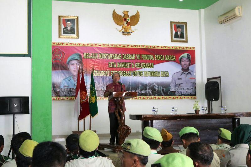 Wakil Gubernur Lampung Bachtiar Basri saat membuka Musyawarah Daerah VII Pemuda Panca Marga di Graha Sudirman Markas Korem 043/Gatam, Jum'at 31 Maret 2017.