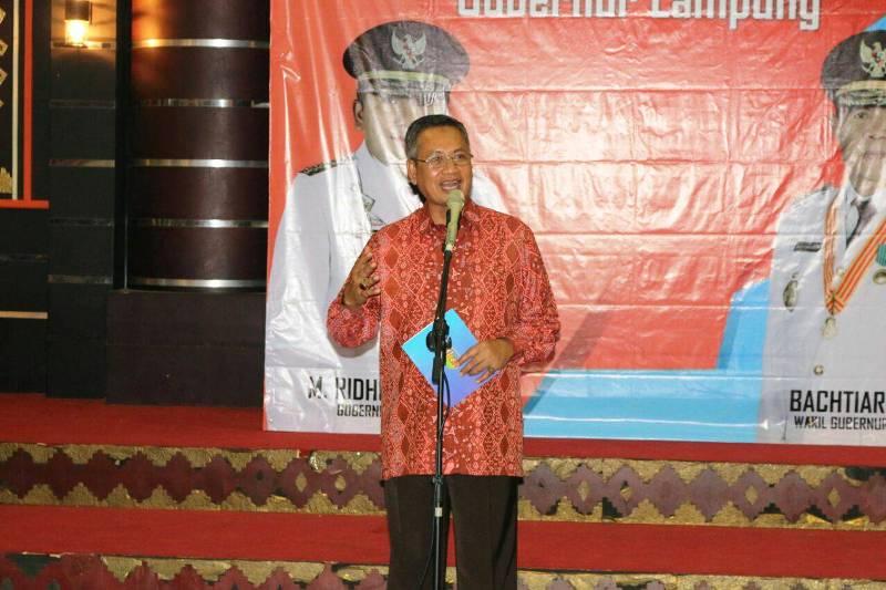 Sekdaprov  Sutono pda acara Welcome Party Pelatih dan Atlet Kejurnas Karate Piala Mendagri, Kamis  malam 23 Maret 2017, di Mahan Agung, Rumah Dinas Gubernur.