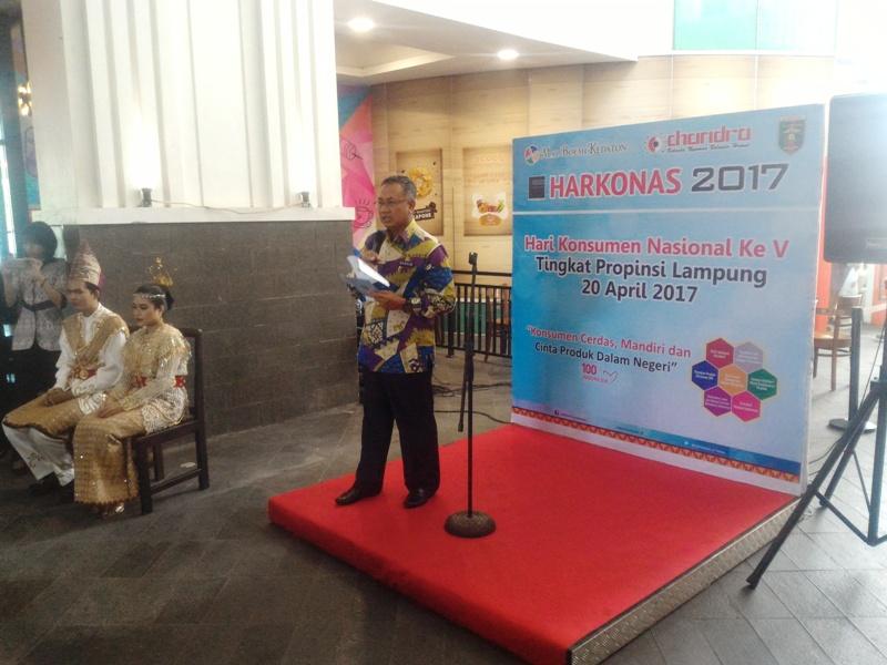 Sekretaris Daerah Provinsi lampung Sutono pada acara Pembukaan perayaan Harkonas tingkat Provinsi Lampung di Mall Boemi Kedaton Bandar Lampung, Kamis 20 April 2017.