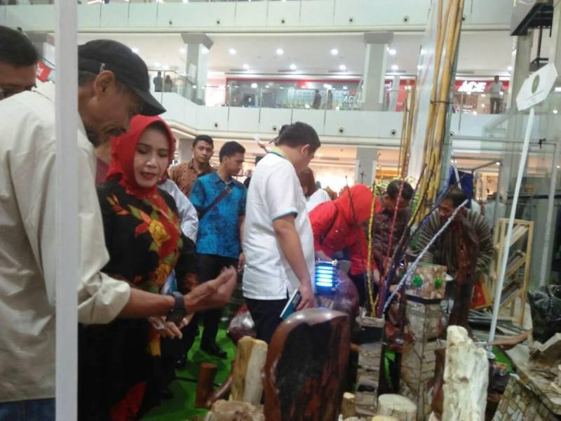 Staf Ahli Bidang Ekubang Choiria Pandarita bersama Bupati Pesawaran Dendi Ramadhona saat meninjau berbagai produk kerajinan pada acara temu karya insan kreatif berbasis budaya di Mall Boemi Kedaton, Kamis 18 Mei 2017.