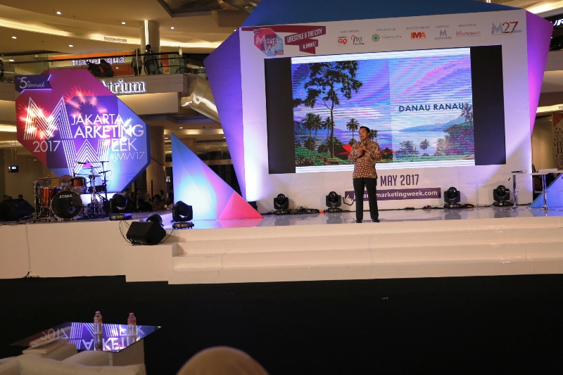 Gubernur Lampung M Ridho Fiacardo pada sesi pariwisata Lampung di ajang Jakarta Marketing Week (JMW), di Kota Kasablanka, Jakarta Selatan, Sabtu 6 Mei 2017.