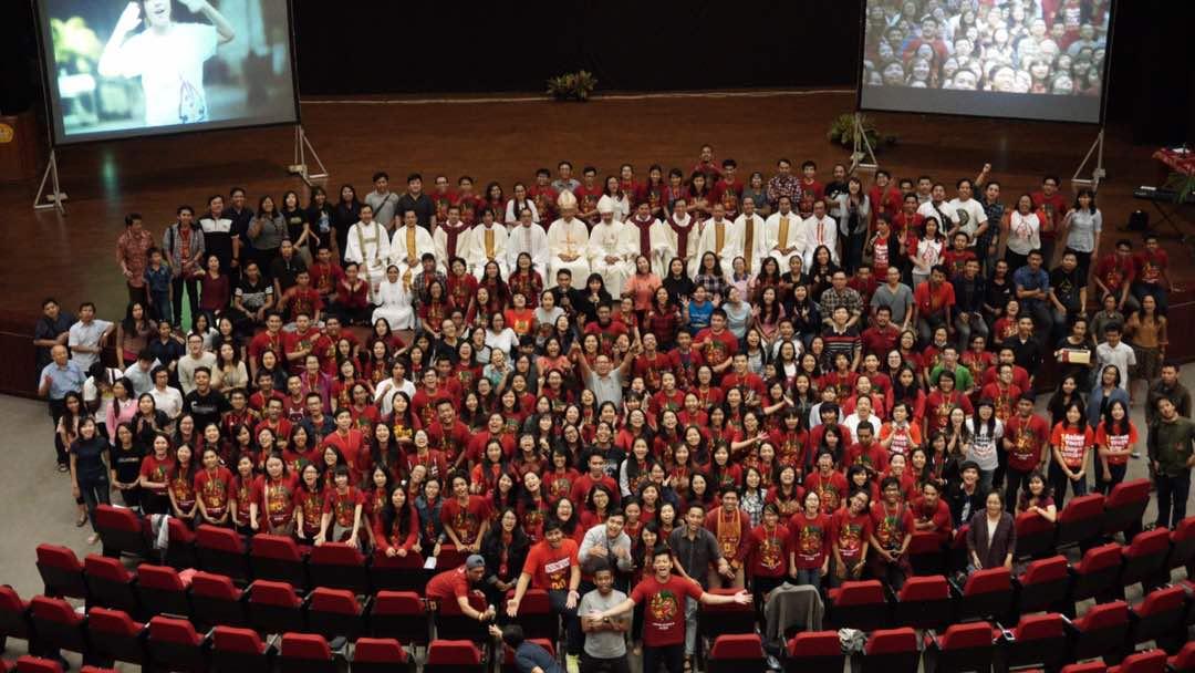 Panitia dan volunteer AYD 2017 mengadakan rekoleksi di Auditorium Driyarkara, Yogyakarta, Minggu 18 Juni 2017 (poto dok.asianyouthday.org)