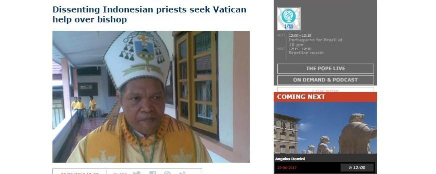 Berita terkait masalah di Keuskupan Ruteng yang disiarkan di Vatican Radio, Kamis 22 Juni 2017