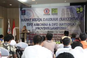 Asisten Bidang Ekbang, Adeham saat membuka Rapat Kerja Daerah (Rakerda) II DPD Askonas Provinsi Lampung, di Hotel Whiz Prime, Jumat 28 Juli 2017