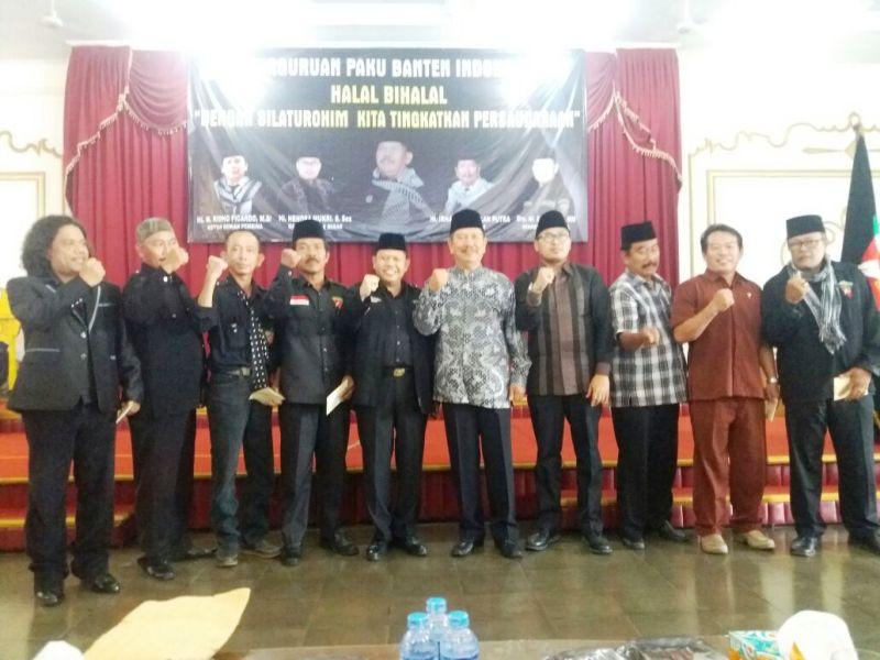 Acara halal bihalal Perguruan Paku Banten Indonesia di Gedung Budi Luhur, Minggu 23 Juli 2017.