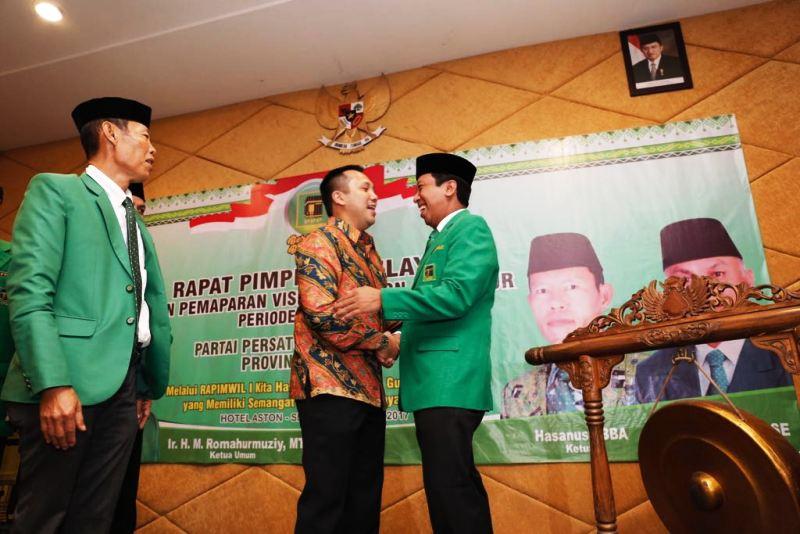 Gubernur Lampung Muhammad Ridho Ficardo bersama Ketua Umum Dewan Pimpinan Pusat PPP, Romahurmuzi.