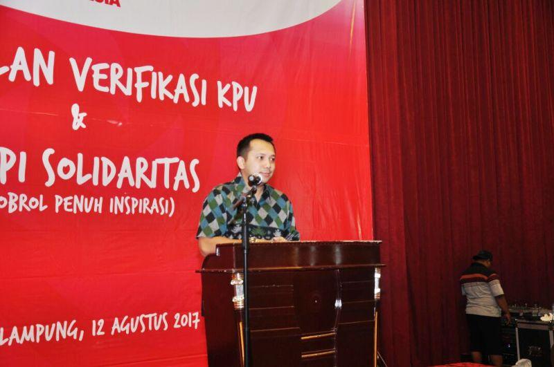 Gubernur Lampung M. Ridho Ficardo ketika memberikan sambutan dalam acara Pembekalan Verifikasi KPU dan Ngopi Solidiritas, di Ballroom Hotel Horison, di Jalan Kartini, Bandar Lampung, Sabtu 12 Agustus 2017