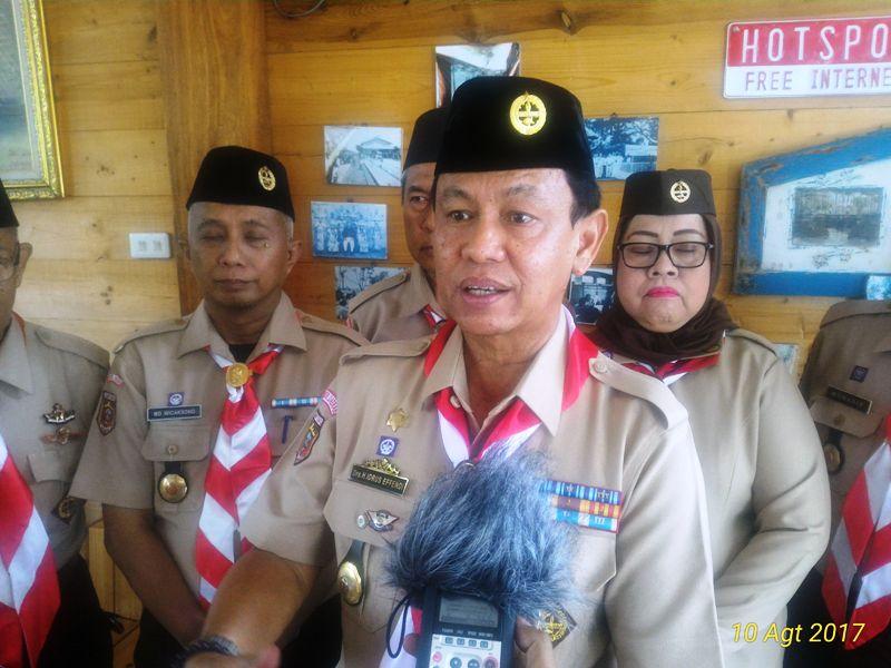 Ketua Kwarda Lampung Idrus Effendi di Nuwono Tasya Guest House, Jalan Perwira No.9, Rajabasa, Kota Bandar Lampung, Kamis 11 Agustus 2017.
