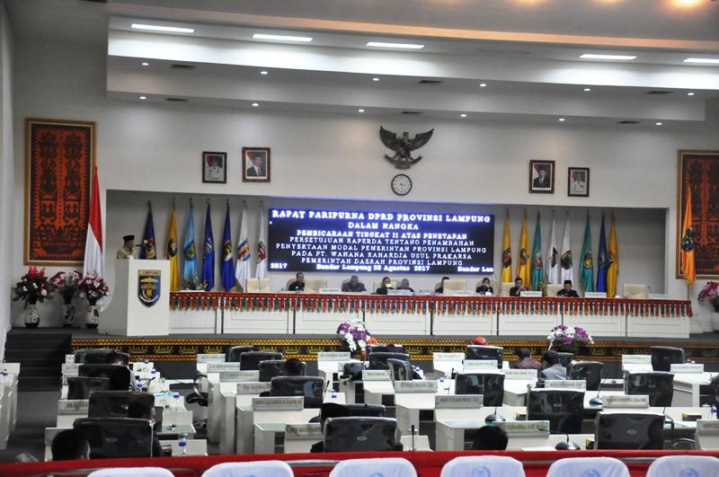 Rapat Paripurna DPRD Provinsi Lampung tentang Penambahan Penyertaan Modal Pemerintah Provinsi Lampung pada PT. Wahana Raharja, Senin 28 Agustus 2017