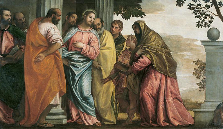 Jesus meeting mother of James and John