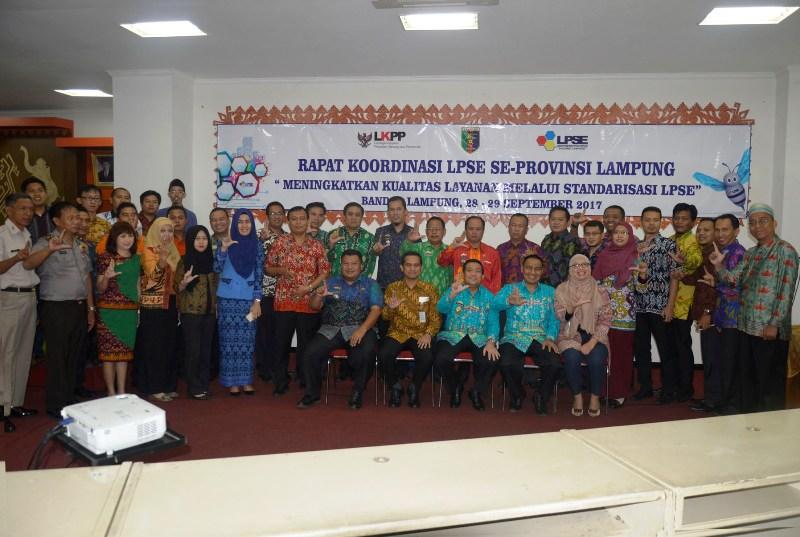 Rapat Koordinasi LPSE Se – Provinsi Lampung tahun 2017, di Balai Keratun Kantor Gubernur Provinsi Lampung 28 September 2017.