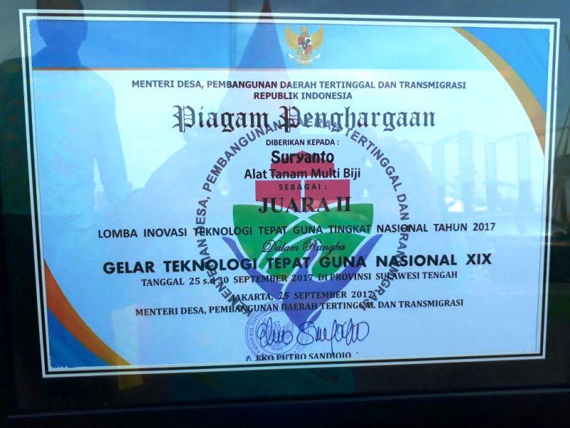Piagam Juara II Lomba Inovasi Teknologi Tepat Guna (TTG) Nasional.