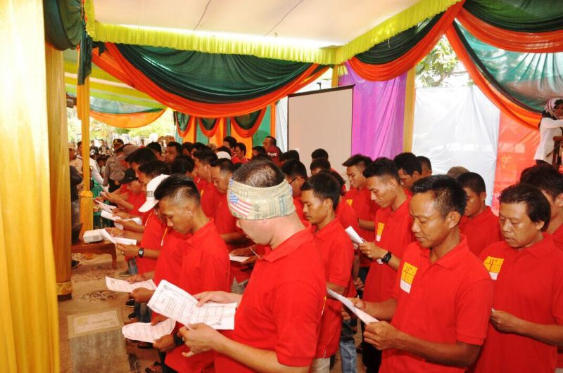 Deklarasi Zona Bebas Narkoba di Desa Kejadian dan Desa Negararatu, Tegineneng, Pesawaran, Senin 23 Oktober 2017.