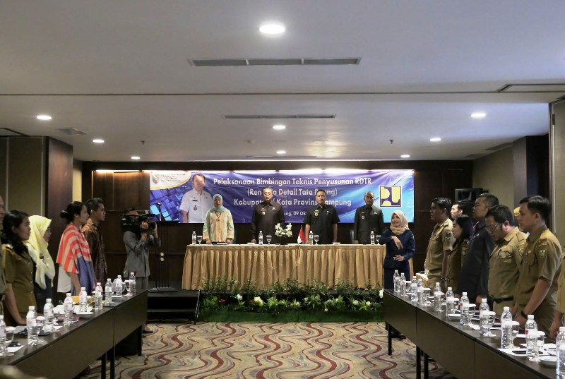 Kegiatan bimbingan teknis penyusunan RDTR kabupaten/kota se-Provinsi Lampung di Hotel Emersia, Senin 9 Oktober 2017.
