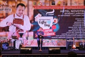 Gubernur Ridho pada acara penutupan peringatan Hari Kopi Internasional di Hotel Novotel, Bandar Lampung, Minggu 1 Oktober 2017.