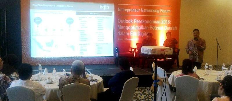 PT Bank Tabungan Pensiunan Nasional (BTPN) bersama Bisnis Indonesia mengadakan kegiatan Entrepreneur Networking Forum Outlook Ekonomi 2018 dengan tema Mengoptimalkan Potensi Daerah dalam Era Digital, Rabu 13 Desember 2017.