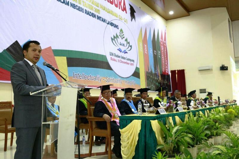 Gubernur Ridho di Gedung Serba Guna UIN Raden Intan Lampung, Rabu 13 Desember 2017.