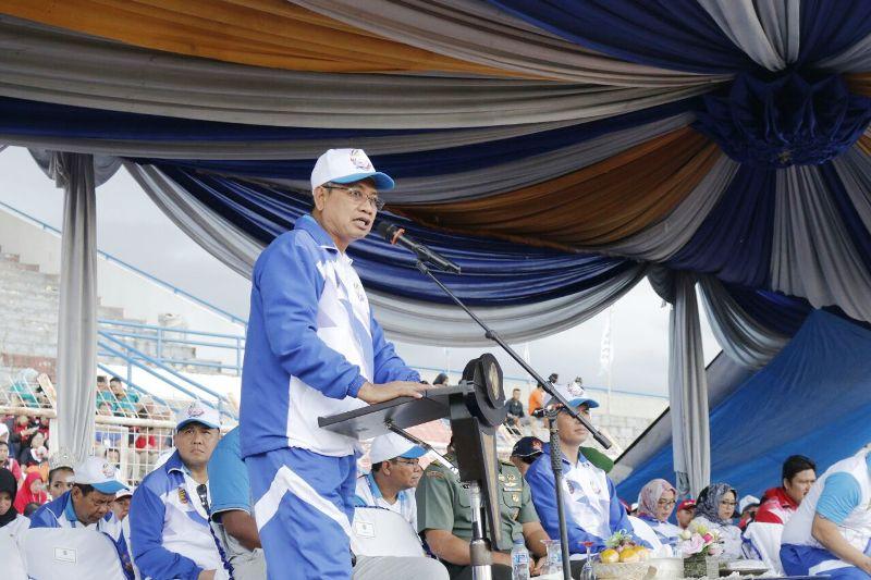 Sekdaprov Lampung Sutono, dalam acara penutupan Porprov VIII-2017 di Lapangan Stadion Sumpah Pemuda PKOR Way Halim, Rabu, 6 Desember 2017.