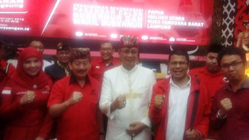 Herman HN bersama Sutono di DPP PDIP, Menteng, Jakarta, Kamis 4 Januari 2018.