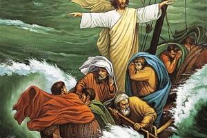Ilustrasi Yesus meredakan badai. Credits : Google
