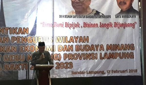 acara pelantikan DPW Gebu Minang Provinsi Lampung masa bakti 2018-2023 di Hotel Horison, Sabtu 17 Februari 2018.