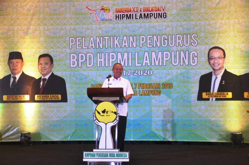 Wakil Gubernur Lampung Bachtiar Basri dalam  Rakerda XII dan Diklat IV HIPMI, serta Pelantikan pengurus BPD HIPMI Lampung masa bakti 2017-2020 di Ballroom Hotel Emersia Rabu 7 Februari 2018.