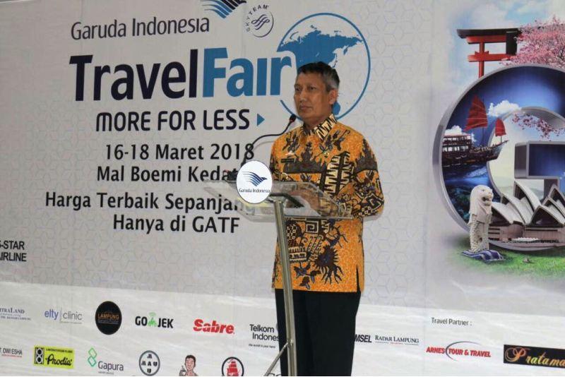 """Pjs. Gubernur Lampung Didik Suprayitno saat membuka """"Garuda Indonesia Travel Fair (GATF) Lampung 2018."""""""