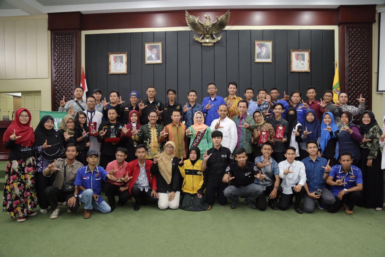 Yustin Ridho Ficardo pada kegiatan konferensi peduli sosial sekaligus penghargaan terhadap komunitas sosial Lampung 2018, di Balai Keratun Provinsi Lampung, Sabtu 24 Maret 2018 pagi.