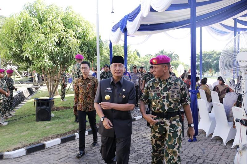 Pjs. Gubernur Lampung Didik Suprayitno bersama Kolonel (Mar) Agung Trisnanto.