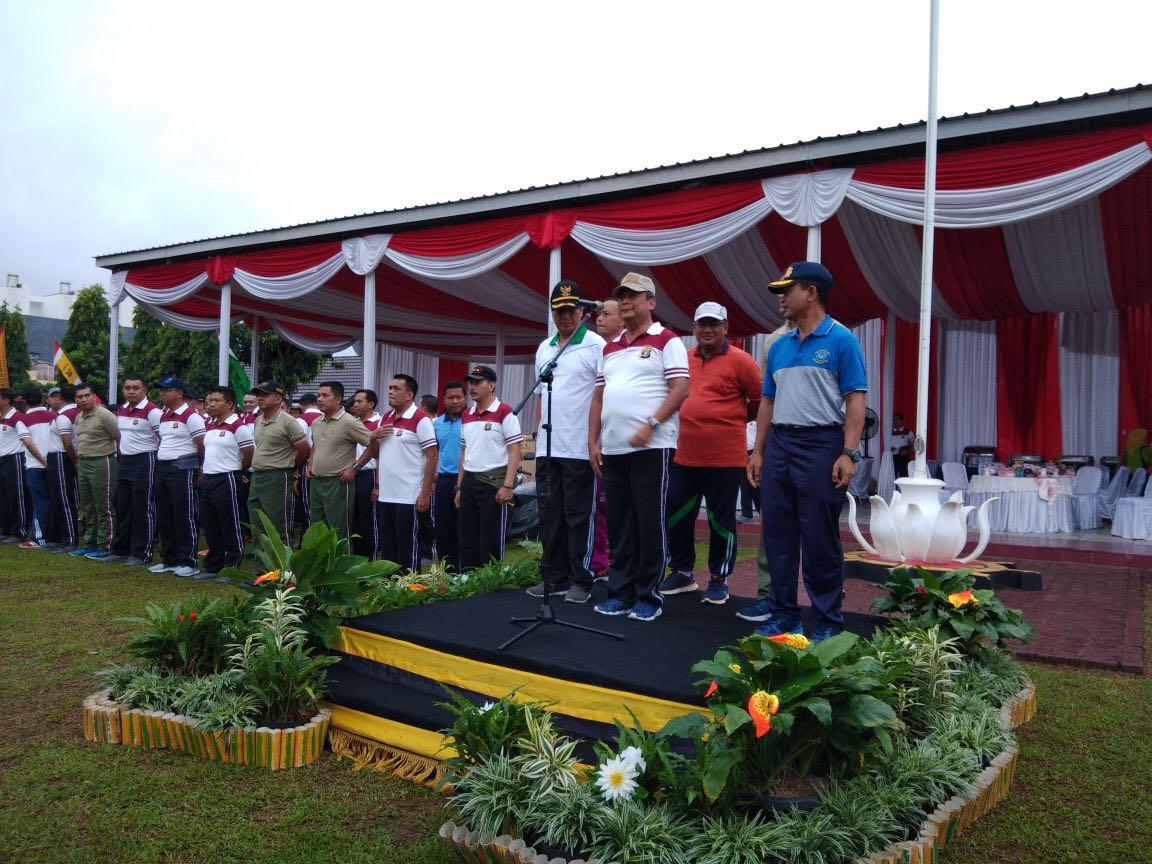 Kapolda Lampung Irjen Suntana  bersama Pjs Gubernur Lampung Didik Suprayitno di Markas Komando Satbrimob Polda Lampung, pada Sabtu pagi 24 Maret 2018.