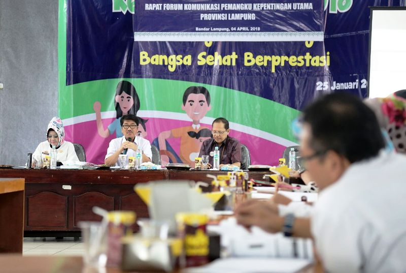 Rapat Forum Komunikasi Pemangku Kepentingan Utama Provinsi Lampung mengenai BPJS Kesehatan, di Ruang Rapat Dinas Kesehatan Provinsi Lampung, Rabu 4 April 2018.
