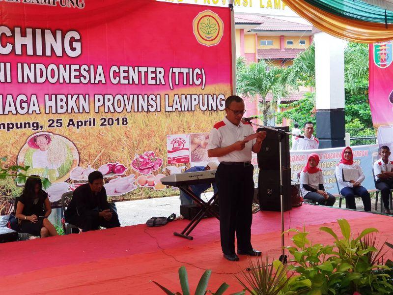 Inspektur Jendral Kementerian Pertanian RI, Justan Riduan Siahaan, pada acara launching Toko Tani Indonesia Center (TTIC) di Kantor Dinas Ketahanan Pangan Provinsi Lampung, Rabu 25 April 2018.