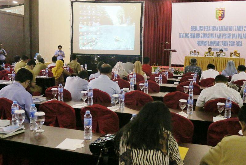 Sosialisasi Perda Nomor 1 Tahun 2018 tentang Rencana Zonasi Wilayah Pesisir dan Pulau-pulau Kecil (RZWP3K) Provinsi Lampung Tahun 2018-2038, di Hotel Horison Bandar Lampung, Selasa 8 Mei 2018.