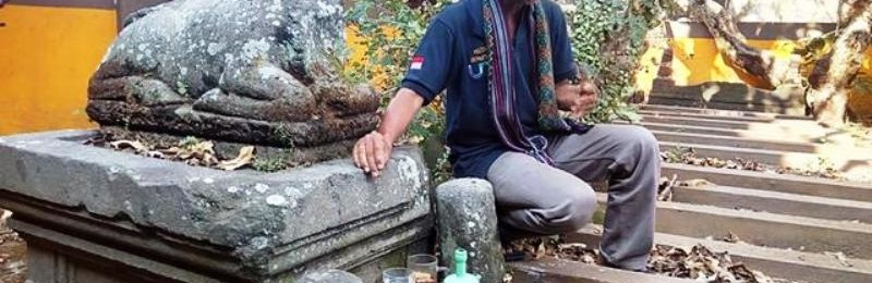 Arca Lembu Nandi di Situs Karuman yang dibangun atas perintah Ken Arok (Liputan6.com/Zainul Arifin)