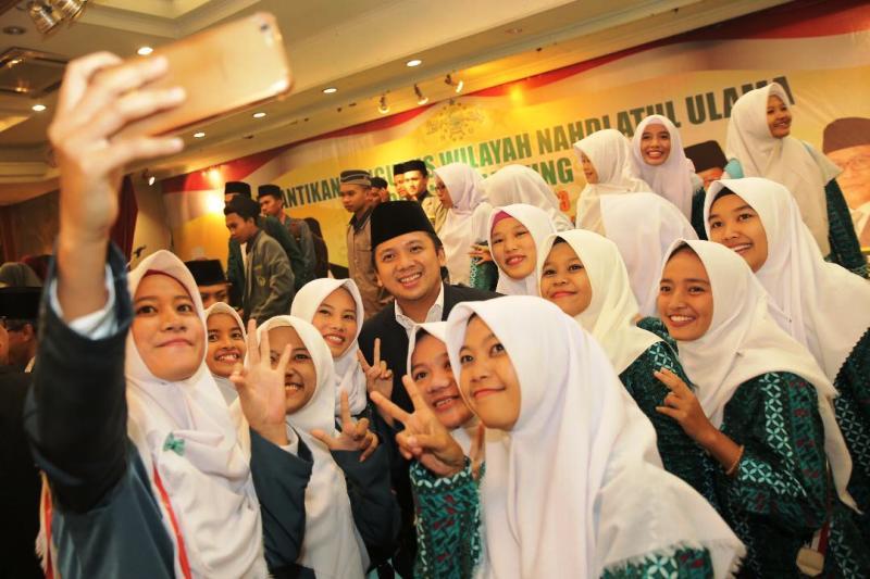 Calon Gubernur Lampung Muhammad Ridho Ficardo saat menghadiri pelantikan Pengurus Wilayah Nahdatul Ulama di Graha Parahita Hotel Marcopolo, Kamis 3 Mei 2018 malam.