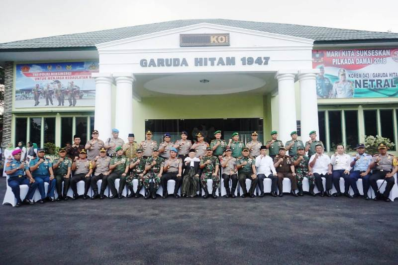 Safari Ramadhan 1439 H bersama keluarga besar TNI-POLRI serta komponen masyarakat Lampung, di Makorem 043/Gatam, Bandar Lampung, Senin 4 Mei 2018.