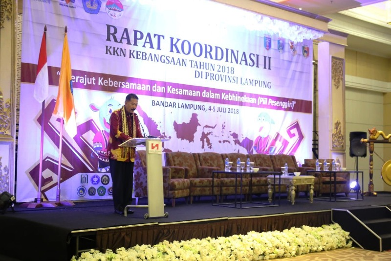 Asisten Bidang Pemerintahan dan Kesra Provinsi Lampung, Hery Suliyanto, saat membuka Rapat koordinasi II Kuliah Kerja Nyata (KKN) Kebangsaan tahun 2018 di Swiss-bel Hotel, Bandar Lampung, Rabu (4/7/2018).