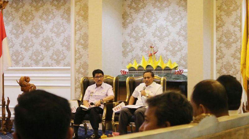 Rapat awal persiapan kunjungan Presiden di Ruang Rapat Utama, Rabu 11 Juli 2018.