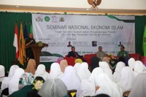 Seminar Nasional Ekonomi Islam dengan tema Peran Asuransi Syariah Dalam Pengembangan Potensi Ekonomi dan Keuangan Syariah di Lampung, yang dilaksanakan di Auditorium KH. Ahmad Dahlan, Lantai 3 kampus UM Lampung, Selasa (28/8/2018).