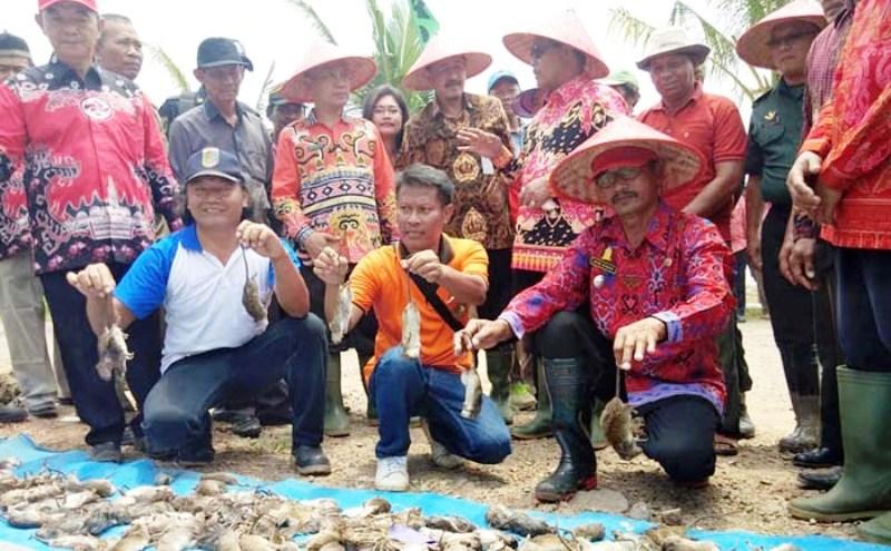 GROPYOKAN TIKUS LAMPUNG: Inspektur I Itjentan, Susanto MM (berdiri belakang ke-4 kiri) berbincang dengan Wakil Bupati H Loekman Djoyosoemarto di Lampung Tengah (Foto: Humas Itjentan/Irfan)