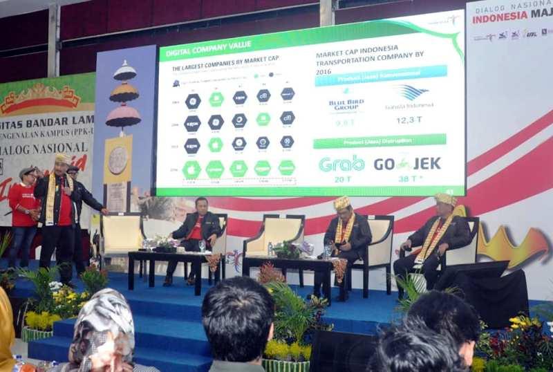 Dialog Nasional Indonesia Maju, di Convention Hall Gedung Mahinggai Kampus Pascasarjana Univesitas Bandar Lampung, Jumat (31/8/2018).