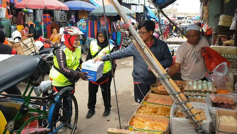 Beberapa Goweser dari BBC turut dalam Gobar Peduli Lombok di Pasar Tugu, Bandar Lampung pada Minggu, 09 September 2018.